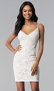 Image of short ivory and nude lace v-neck graduation dress. Style: JU-10735JC Front Image