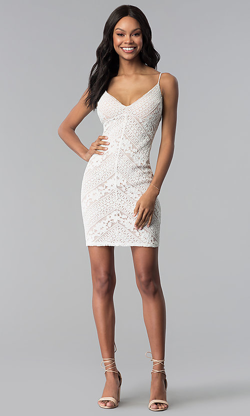 Image of short ivory and nude lace v-neck graduation dress. Style: JU-10735JC Detail Image 3