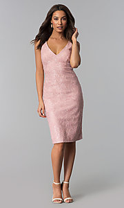 Image of knee-length glitter-lace v-neck party dress. Style: JU-MA-264081 Detail Image 1