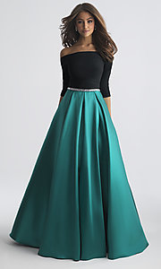 Image of off-the-shoulder long prom dress by Madison James. Style: NM-18-609 Detail Image 1