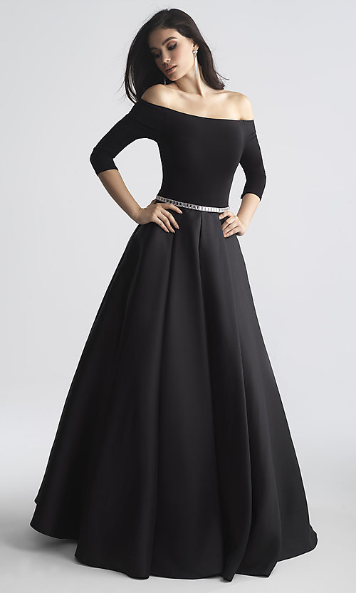 Image of off-the-shoulder long prom dress by Madison James. Style: NM-18-609 Detail Image 2
