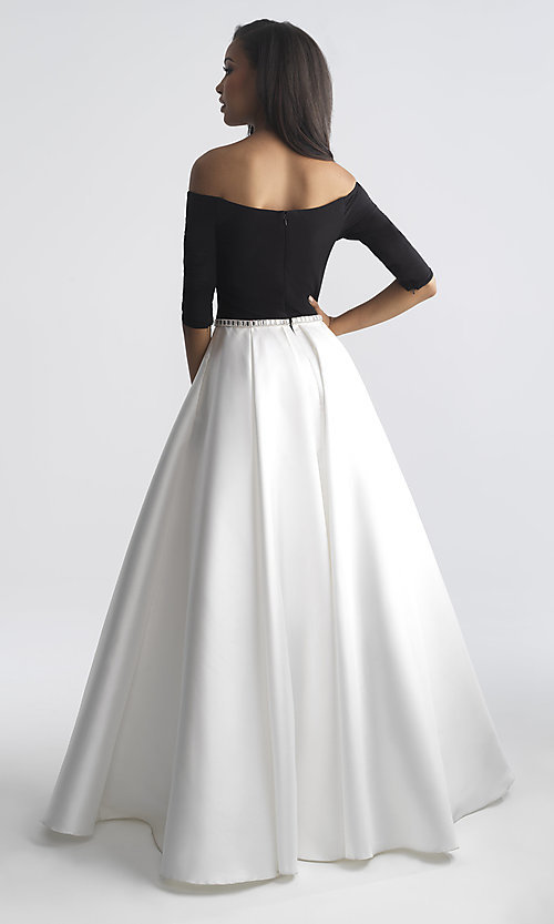 Image of off-the-shoulder long prom dress by Madison James. Style: NM-18-609 Back Image