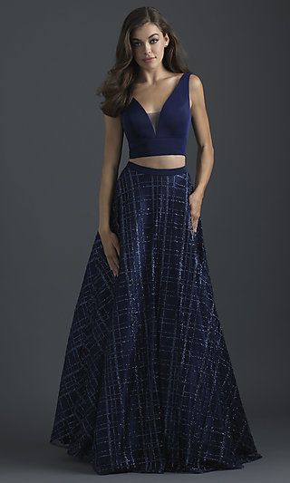 Two-Piece V-Neck Long Prom Dress by Madison James