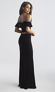 Image of two-piece long designer prom dress with ruffles. Style: NM-18-745 Back Image