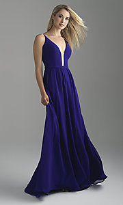 Image of long chiffon Madison James prom dress with corset. Style: NM-18-650 Detail Image 1