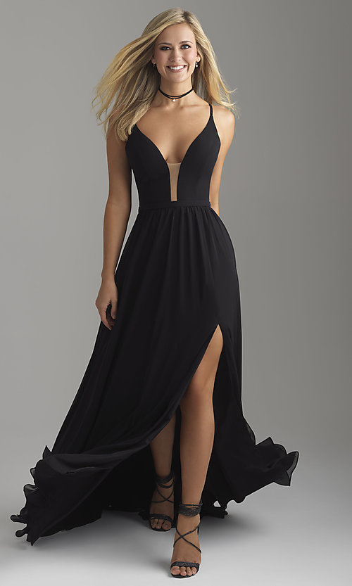 Image of long chiffon Madison James prom dress with corset. Style: NM-18-650 Detail Image 3