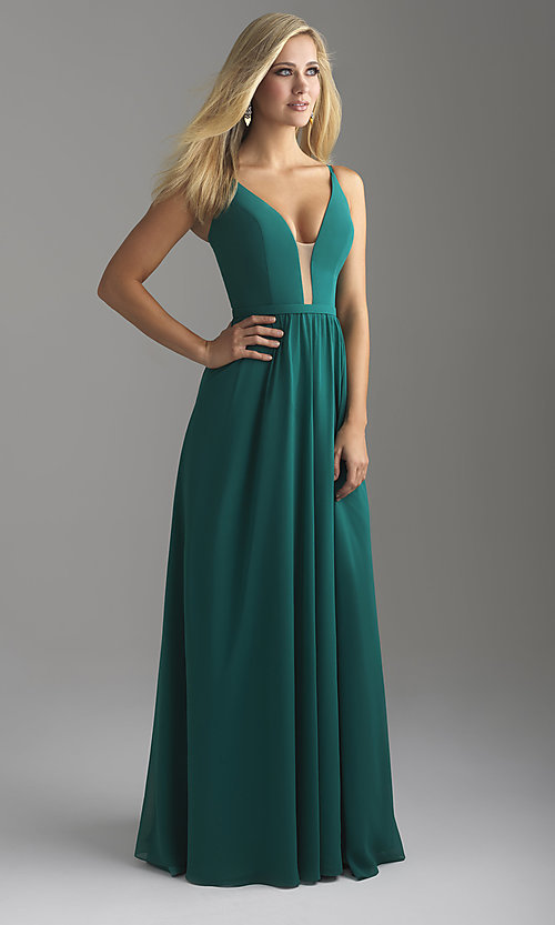 Image of long chiffon Madison James prom dress with corset. Style: NM-18-650 Front Image