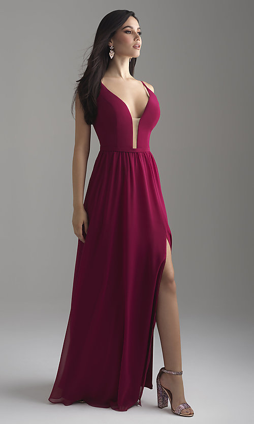 Image of long chiffon Madison James prom dress with corset. Style: NM-18-650 Detail Image 2