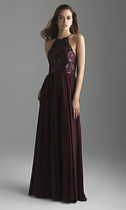Image of high-neck embroidered prom dress by Madison James. Style: NM-18-605 Detail Image 2