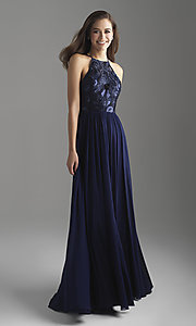Image of high-neck embroidered prom dress by Madison James. Style: NM-18-605 Front Image