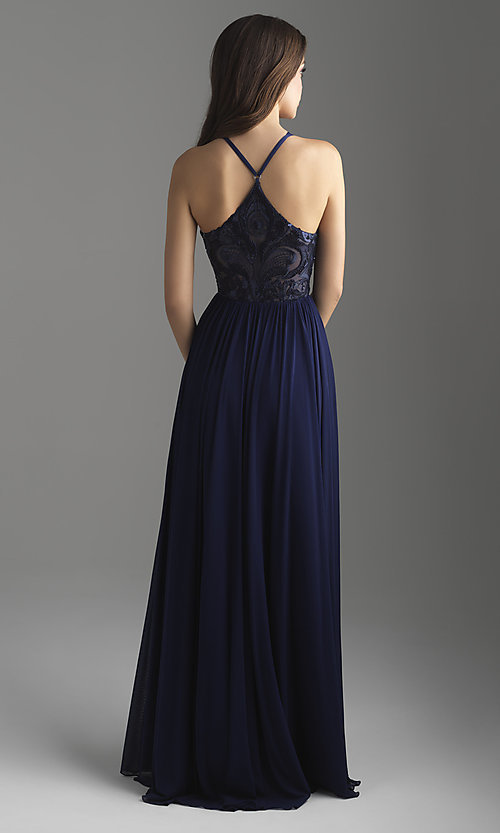 Image of high-neck embroidered prom dress by Madison James. Style: NM-18-605 Back Image
