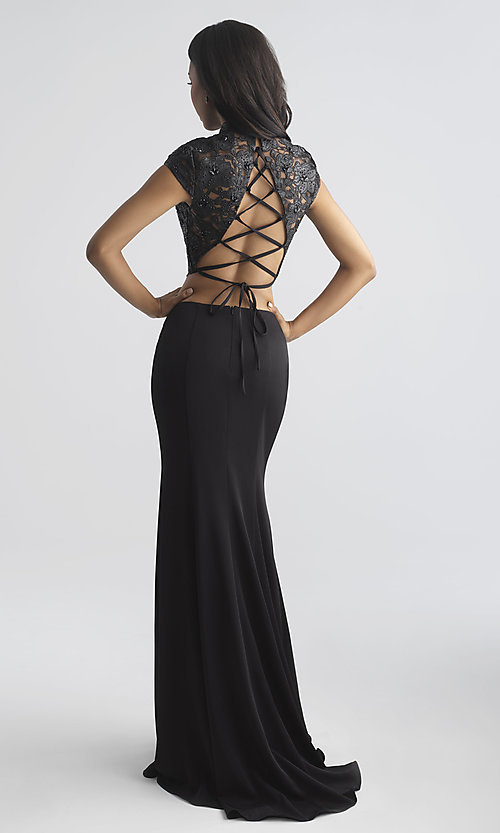 Image of two-piece prom dress with laser-cut vegan-leather top Style: NM-18-655 Back Image