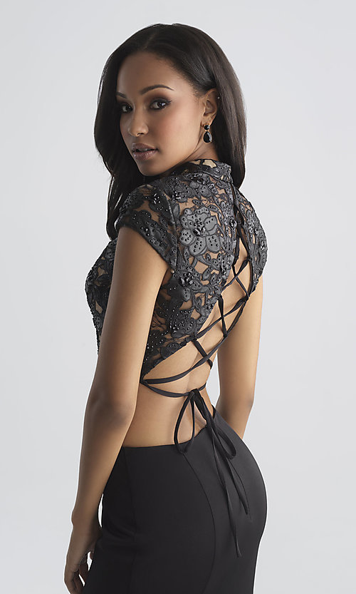 Image of two-piece prom dress with laser-cut vegan-leather top Style: NM-18-655 Detail Image 1