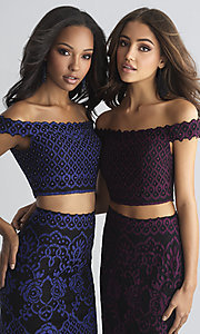 Image of two-piece Madison James long lace prom dress. Style: NM-18-646 Detail Image 2