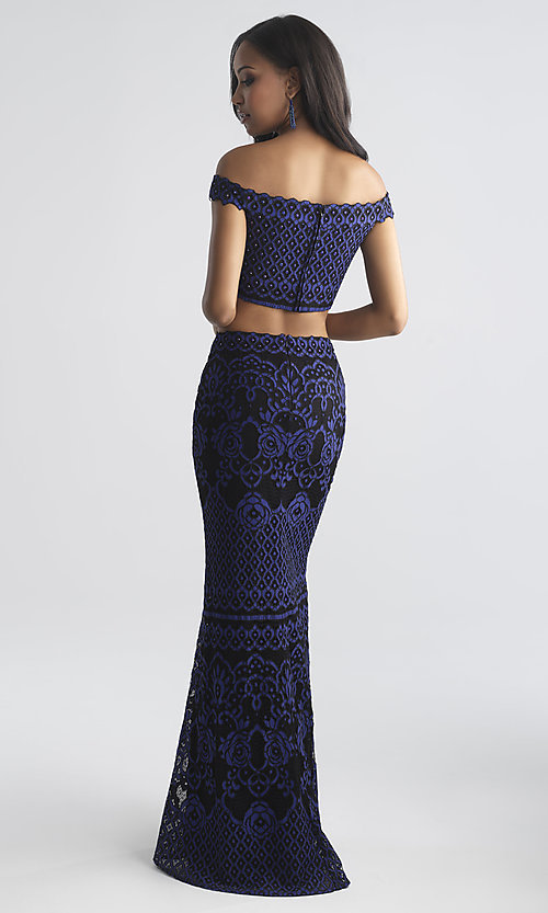 Image of two-piece Madison James long lace prom dress. Style: NM-18-646 Back Image