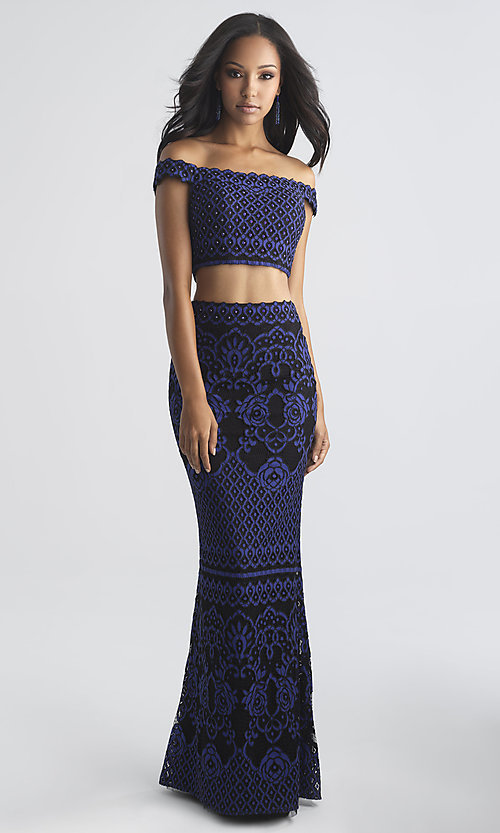 Image of two-piece Madison James long lace prom dress. Style: NM-18-646 Front Image