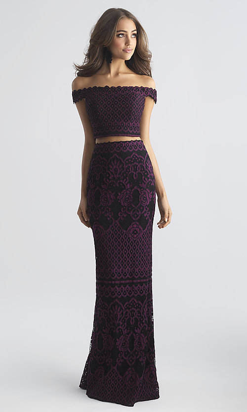 Image of two-piece Madison James long lace prom dress. Style: NM-18-646 Detail Image 1