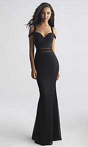 Image of long strappy-open-back prom dress by Madison James. Style: NM-18-730 Front Image