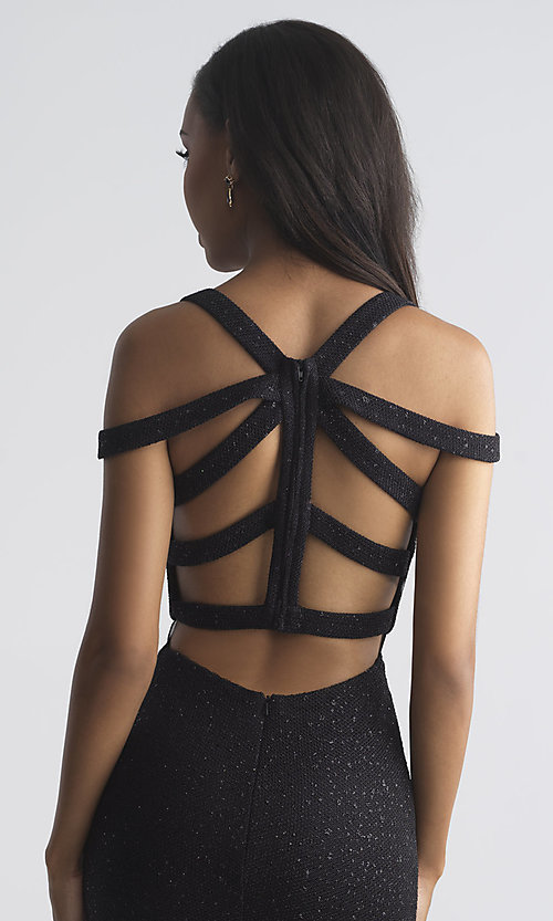 Image of long strappy-open-back prom dress by Madison James. Style: NM-18-730 Detail Image 1