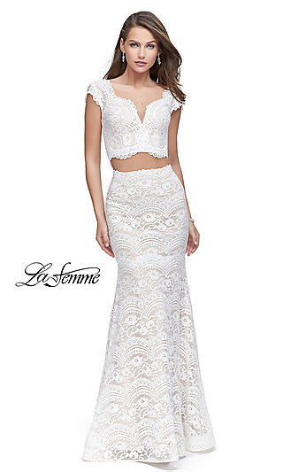 Long Two-Piece Lace Prom Dress with Cap Sleeves by La Femme