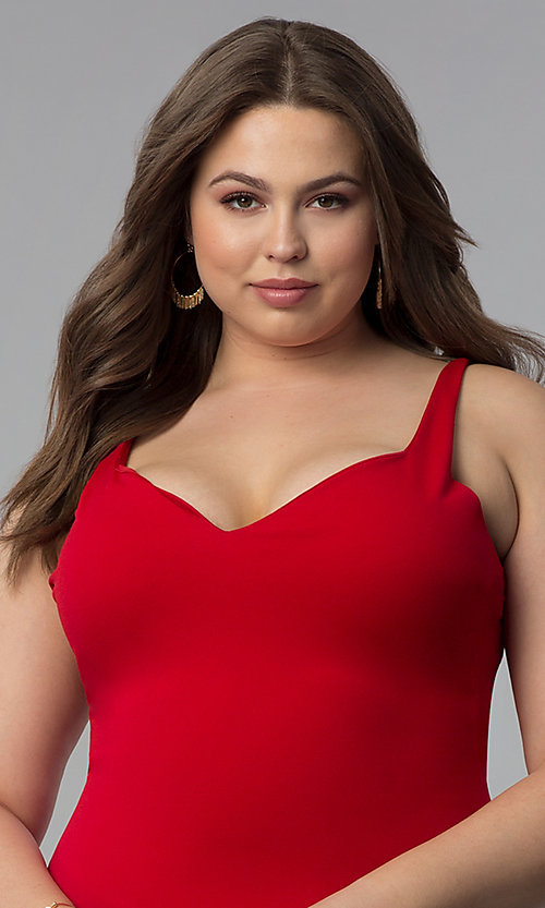 Image of form-fitting short plus-size red party dress. Style: KIM-D22946B Detail Image 1