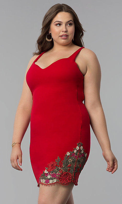 Image of form-fitting short plus-size red party dress. Style: KIM-D22946B Detail Image 3