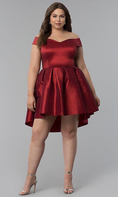 Image of high-low semi-formal plus-size short party dress. Style: KIM-D2078B Detail Image 3