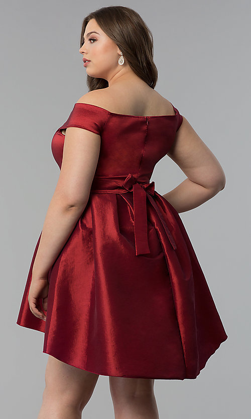 Image of high-low semi-formal plus-size short party dress. Style: KIM-D2078B Back Image