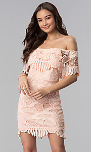Image of short off-the-shoulder graduation lace party dress. Style: SOI-D16081 Detail Image 3
