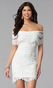Image of short off-the-shoulder graduation lace party dress. Style: SOI-D16081 Front Image