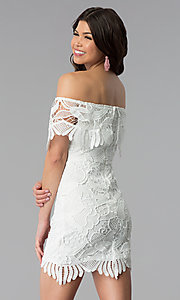 Image of short off-the-shoulder graduation lace party dress. Style: SOI-D16081 Back Image