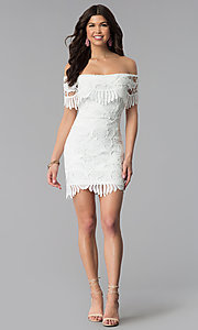 Image of short off-the-shoulder graduation lace party dress. Style: SOI-D16081 Detail Image 2