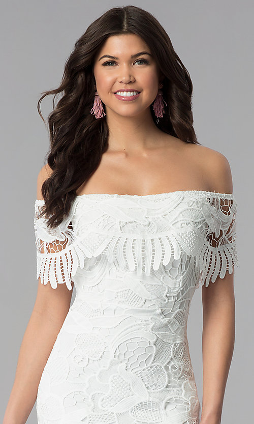 Image of short off-the-shoulder graduation lace party dress. Style: SOI-D16081 Detail Image 1