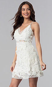 Image of ivory embroidered-lace short graduation party dress. Style: SOI-D16524 Front Image