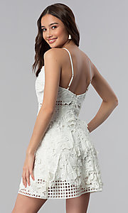 Image of ivory embroidered-lace short graduation party dress. Style: SOI-D16524 Back Image
