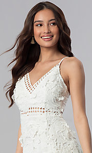 Image of ivory embroidered-lace short graduation party dress. Style: SOI-D16524 Detail Image 1