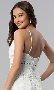 Image of ivory embroidered-lace short graduation party dress. Style: SOI-D16524 Detail Image 2