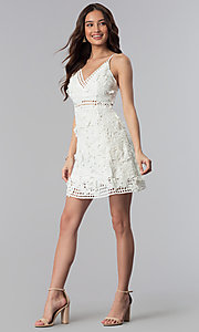 Image of ivory embroidered-lace short graduation party dress. Style: SOI-D16524 Detail Image 3