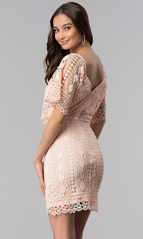 Image of dolman-sleeve short lace graduation party dress. Style: SOI-D16085 Back Image