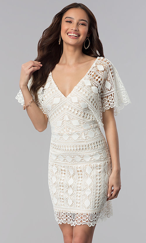 Image of dolman-sleeve short lace graduation party dress. Style: SOI-D16085 Front Image
