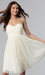 Image of strapless sweetheart short graduation party dress. Style: SOI-D16107 Detail Image 3