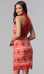 Image of high-neck short poppy red lace party dress. Style: SOI-D16653 Back Image