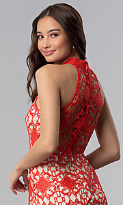 Image of high-neck short poppy red lace party dress. Style: SOI-D16653 Detail Image 2