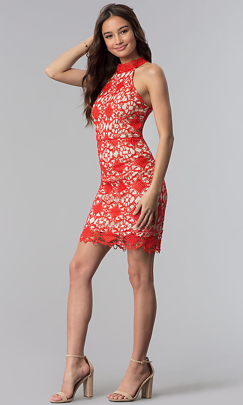 Image of high-neck short poppy red lace party dress. Style: SOI-D16653 Detail Image 3