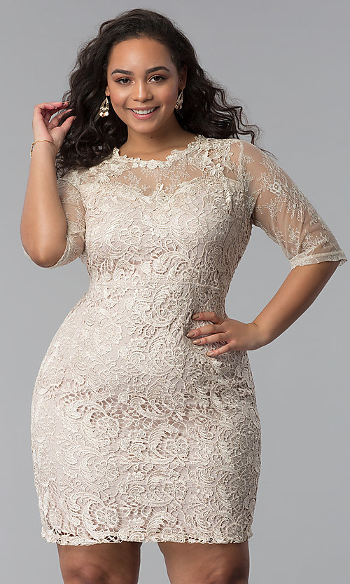 Lace Half-Sleeve Plus-Size Graduation Party Dress