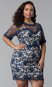 Short Embroidered Lace Plus-Size Party Dress