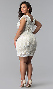 Image of short lace v-neck plus-size party dress. Style: SOI-PD16803 Detail Image 3