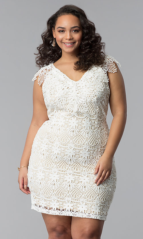 Image of short lace v-neck plus-size party dress. Style: SOI-PD16803 Front Image