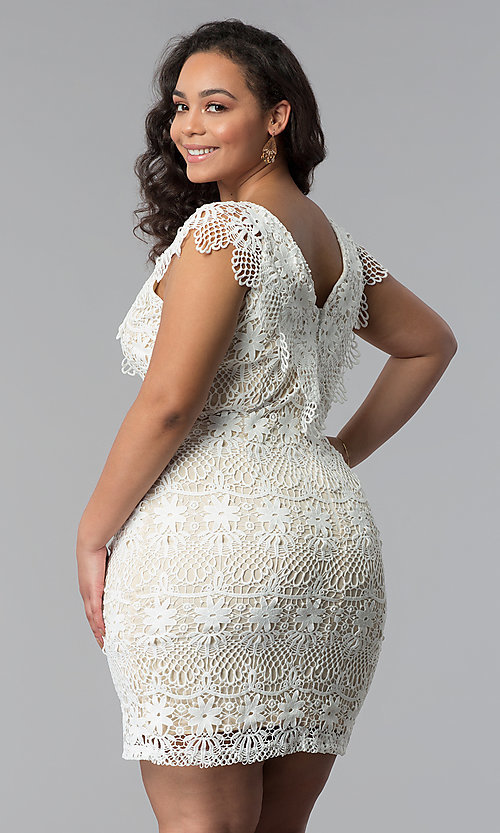 Image of short lace v-neck plus-size party dress. Style: SOI-PD16803 Back Image