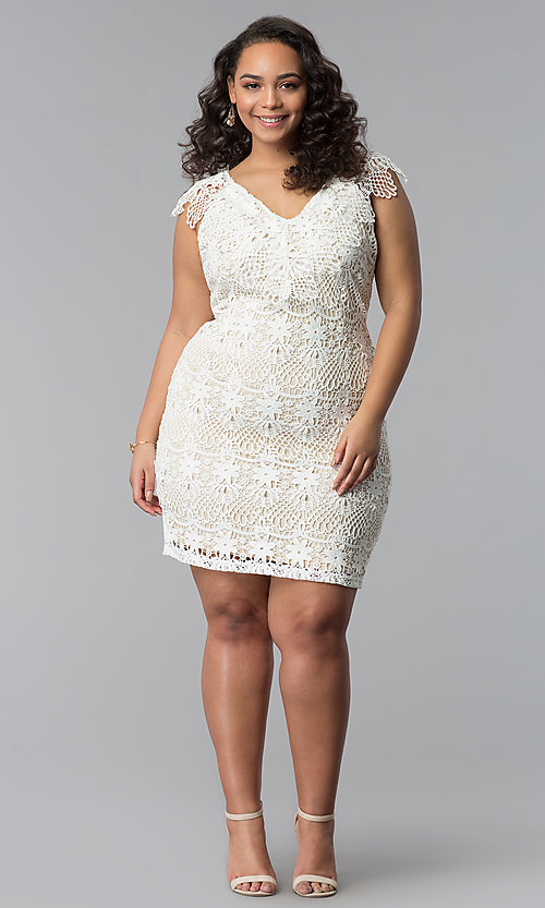 Image of short lace v-neck plus-size party dress. Style: SOI-PD16803 Detail Image 2